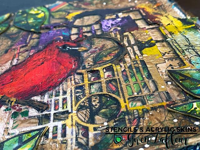 Art Journaling with Stencils & Acrylic Skins - Closeup - Gwen Lafleur