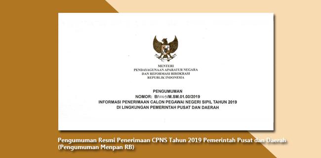 Pengumuman Resmi Menpan RB Penerimaan CPNS Tahun 2019 Pemerintah Pusat dan Daerah