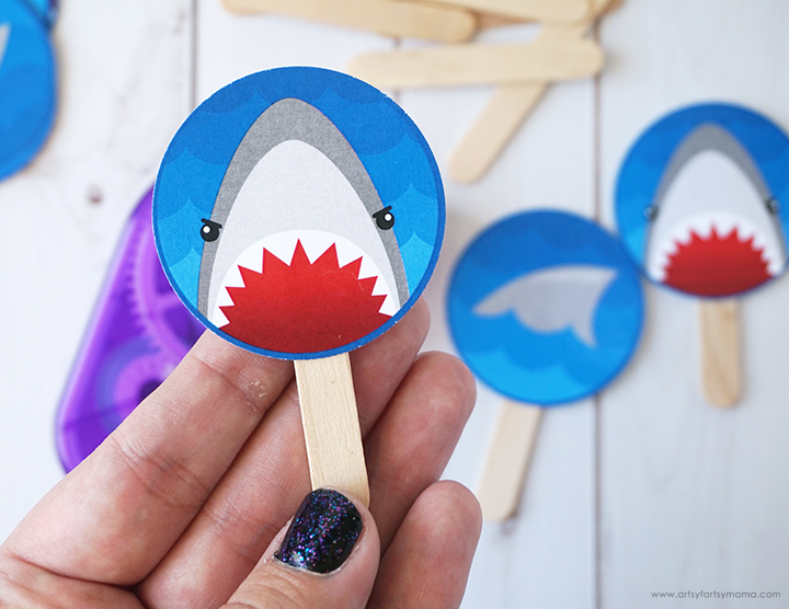 Shark Week Cupcake Toppers Stick