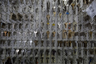 Keys hanging on pegboard