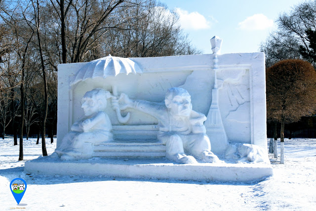 I love this romance snow sculpture at Harbin Snow Sculpture Art Expo in Heilongjiang province, China