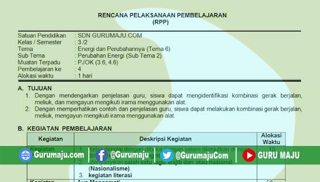 RPP 1 Lembar PJOK SD Kelas 3 Tema 6 Revisi 2020