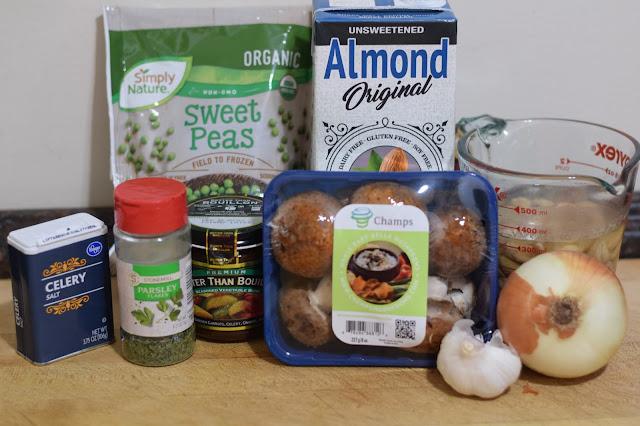 The ingredients needed to make vegan mushroom stroganoff.