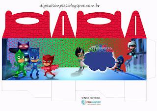 Caja Lunch de Super héroes en Pijamas para Imprimir Gratis.