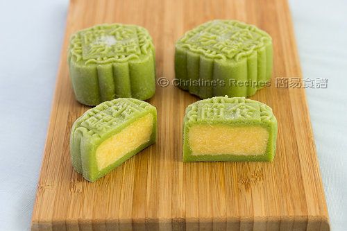 綠茶奶黃冰皮月餅 Green Tea & Custard Snow Skin Mooncakes02