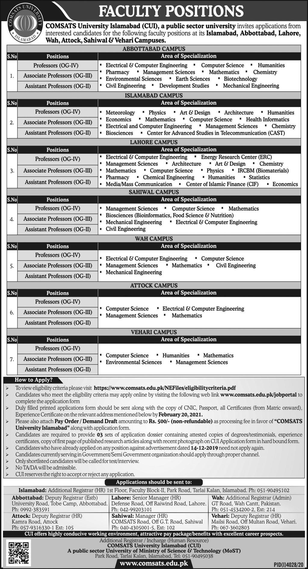 Comsats Careers - Comsats University Jobs - Comsats University Islamabad (CUI) Jobs 2021 - Lecturer Jobs - Academic Positions - Academic Jobs - Online Apply - ww2.comsats.edu.pk/jobportal/Login.aspx
