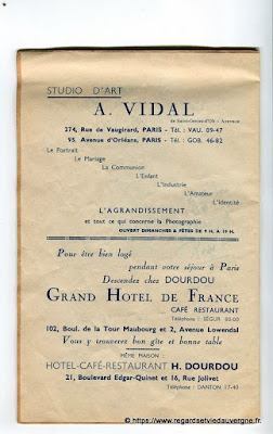 La Bourrée du Massif Central, programme 1938, A. Vidal, chez Dourdou.