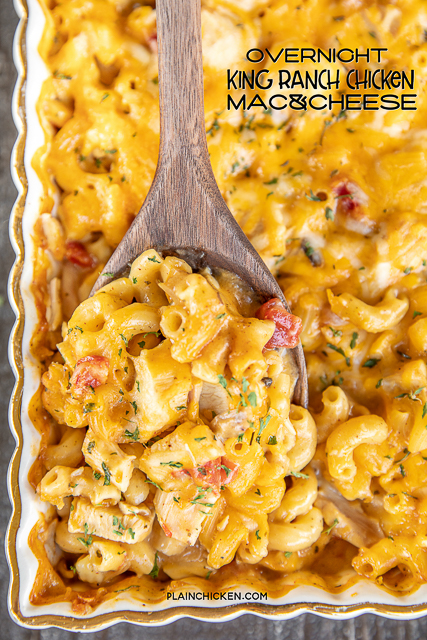 spooning chicken pasta casserole from baking dish