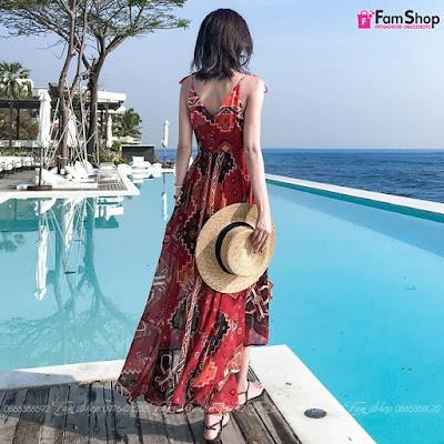 Váy maxi đi biển V590