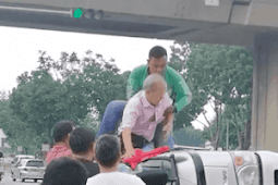 Tersepit dalam lori, nyawa pakcik diselamatkan abang GrabFood