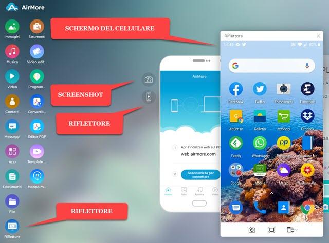schermo del cellulare mostrato nel browser del computer
