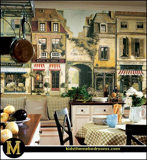 French Cafe Bistro Kitchen or Paris Themed Bedrooms.   La Rue De Paris Wall Mural