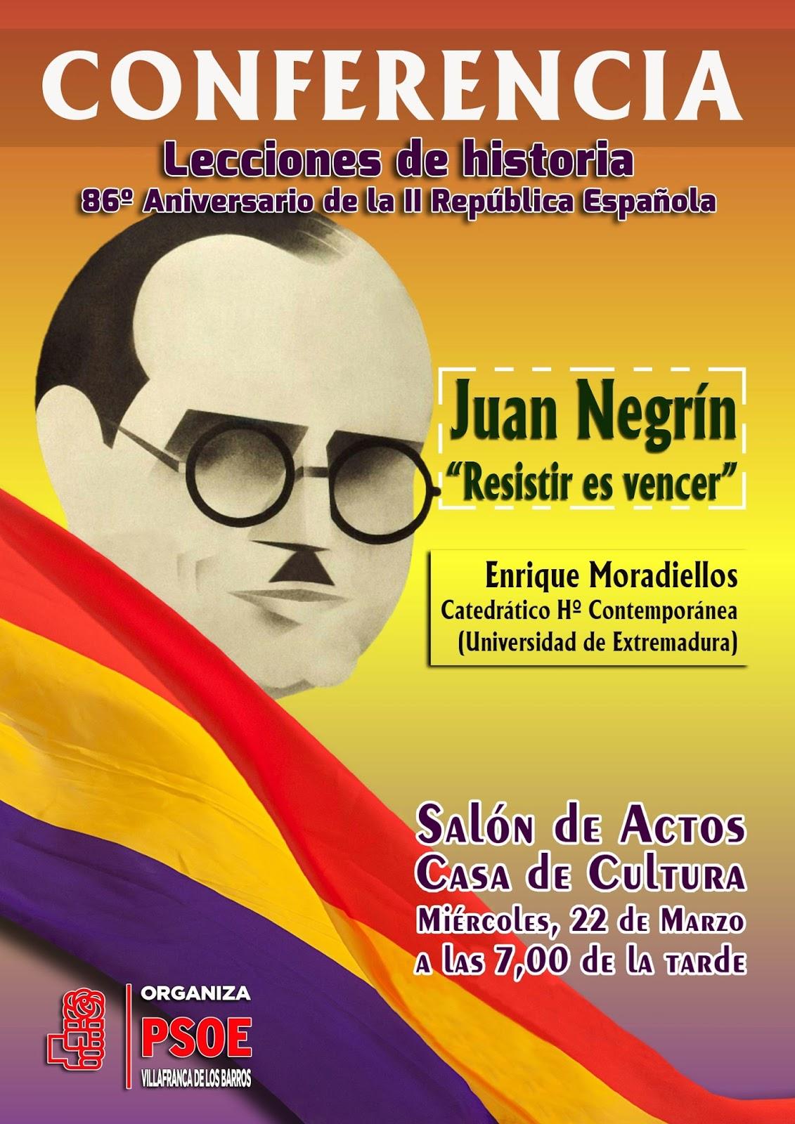 Enrique Moradiellos, Catedrático de Historia Contemporánea de la UEx, imparte una conferencia sobre Juan Negrín en Villafranca de los Barros.