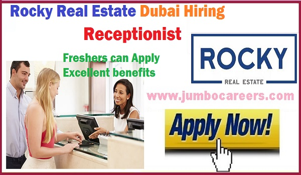 Female jobs with salary and benefits, Receptionist jobs Dubai for Rocky Real Estate