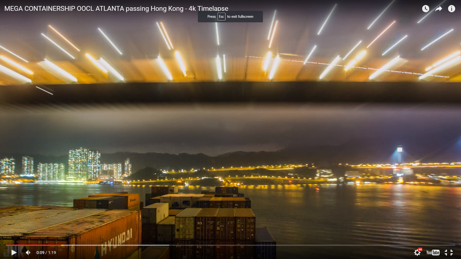 VIDEO: Containership OOCL ATLANTA Passing Hong Kong in 4K HD
