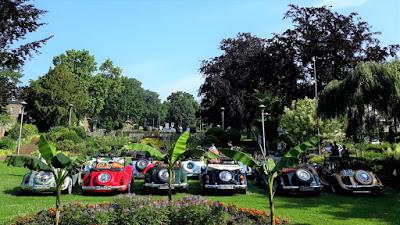 Um jardim europeu com plantas e carros exóticos.