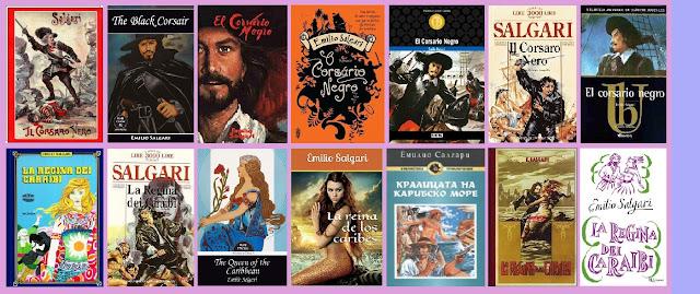 Portadas de los libros de aventuras clásicos El corsario negro y la Reina de los Caribes, de Emilio Salgari