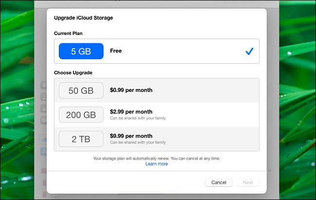 قائمة iCloud Upgrade iCloud Stroage على جهاز Mac في Big Sur.