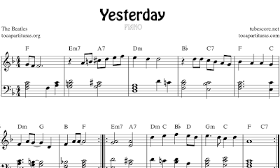 Yesterday de The Beatles partitura de Piano