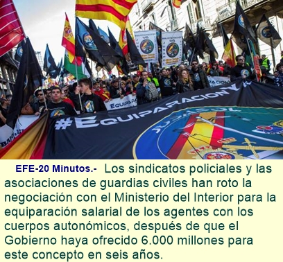 Policías y guardias civiles rompen la negociación con el Gobierno sobre la equiparación salarial