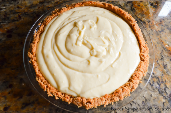 Fill Graham Cracker Crust with Lemon Pudding Cheesecake mixture from Serena Bakes Simply From Scratch.