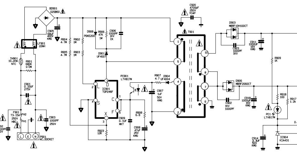 Flatron L1510M LG LCD monitor Circuit Diagram Schematic