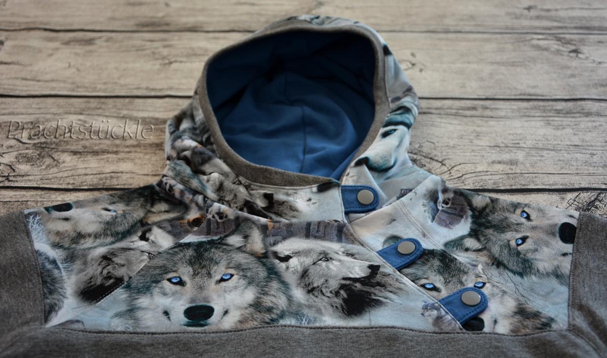 Prachtstückle: Digitaldruck Wolf mit blauen Augen