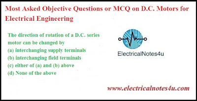 MCQ on D.C. Motors for Electrical Engineering