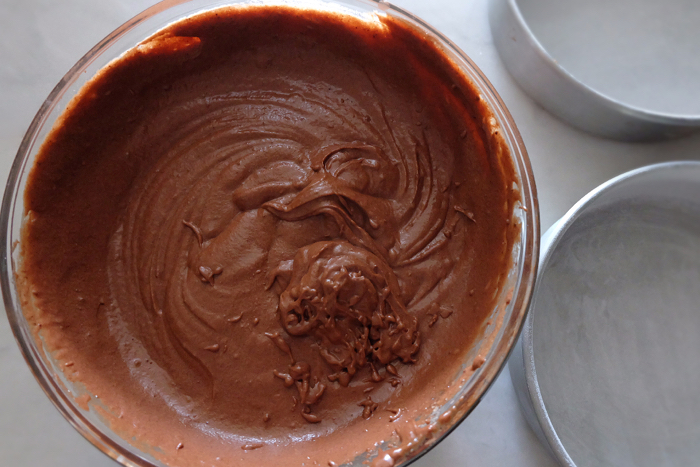 chocolate cake batter ready to pan