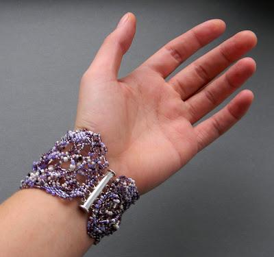 купить оригинальные украшения фриформ бохо сиреневый браслет