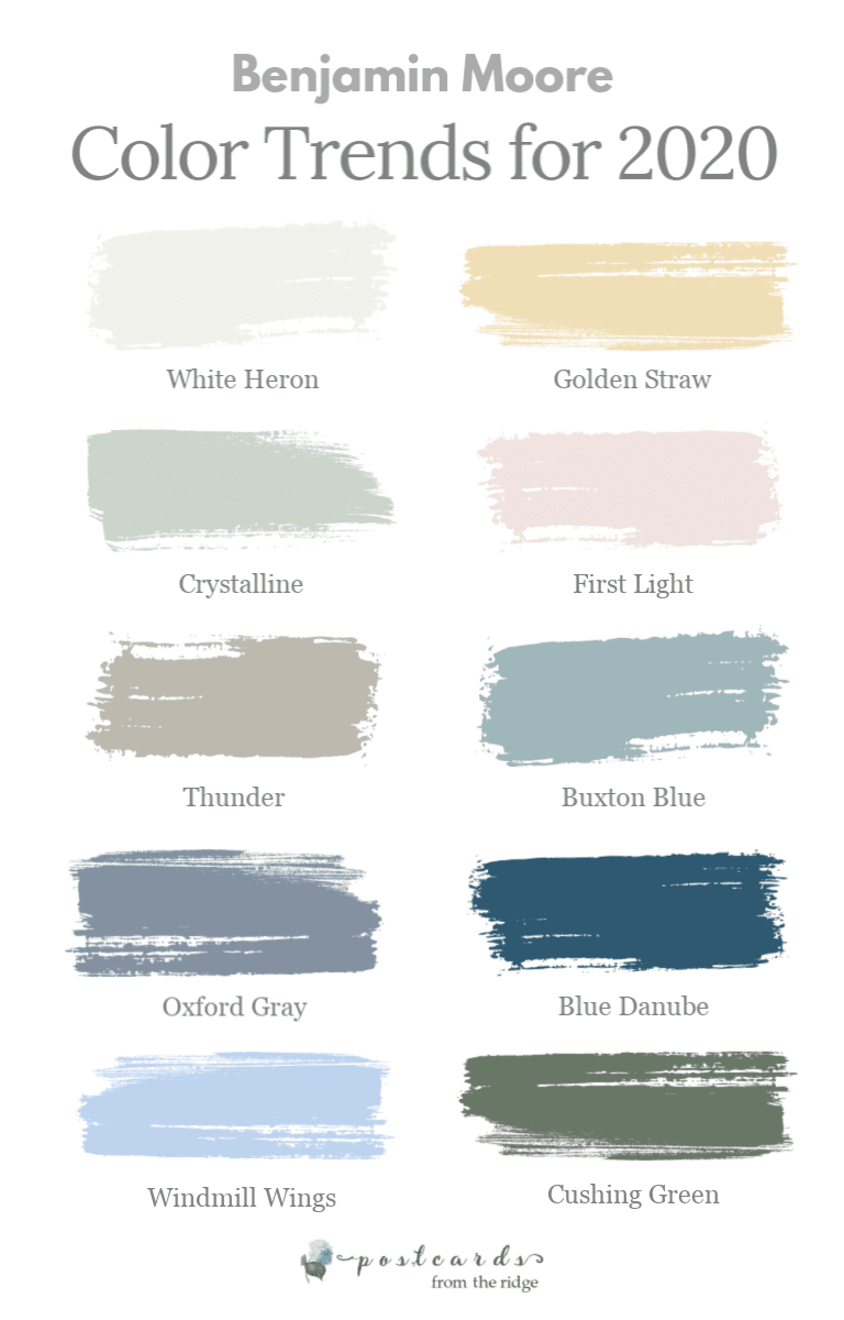 color swatches for Benjamin Moore color trends for 2020
