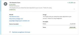 SwagBucks — dowód wypłaty 2020, PayPal.