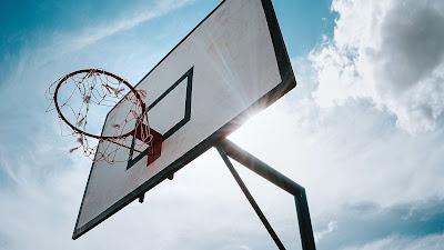 Sun, clouds, basketball hoop, basketball, sports