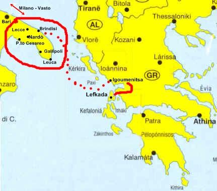 Cartina Puglia Grecia.Due Cuori E Una Moto Salento Puglia Lefkada Grecia