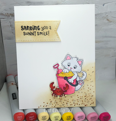 Sanding you sunny smiles by Cat Craig features Kitten Beach by Newton's Nook Designs; #inkypaws, #newtonsnook,  #summercards, #cardmaking, #catcards