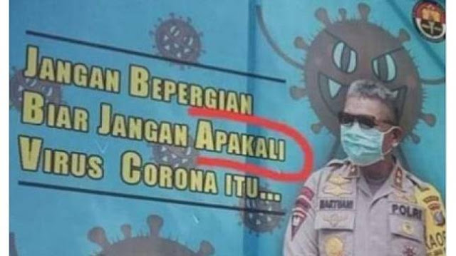 Viral Spanduk Polisi Beri Imbauan Corona, Isinya Bikin Publik Kebingungan