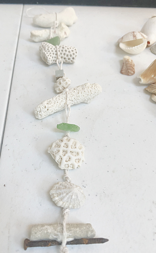 coral garland with sea glass