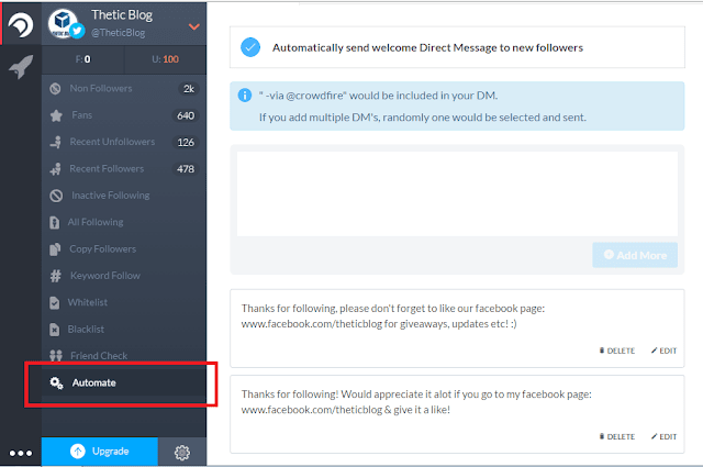 How to set up Automatic Direct Message on Twitter using Crowdfire