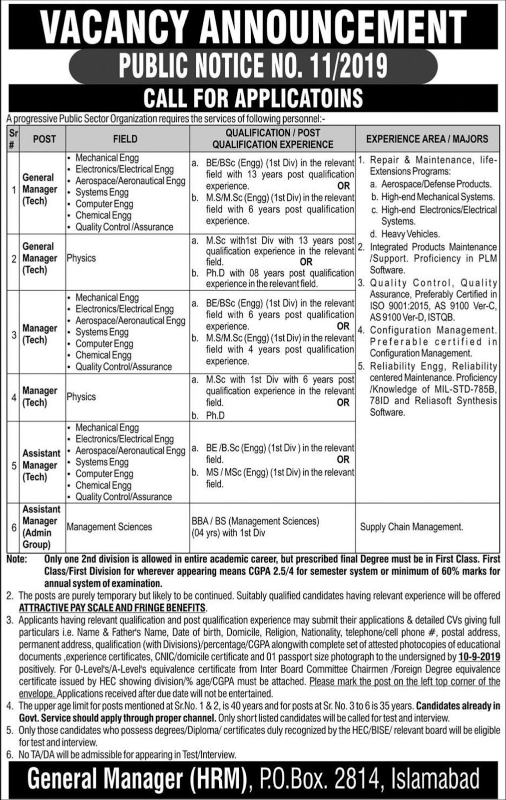Public Sector Organization Jobs 2019 PO Box 2814 Islamabad for Assistant Managers, General Managers & Managers