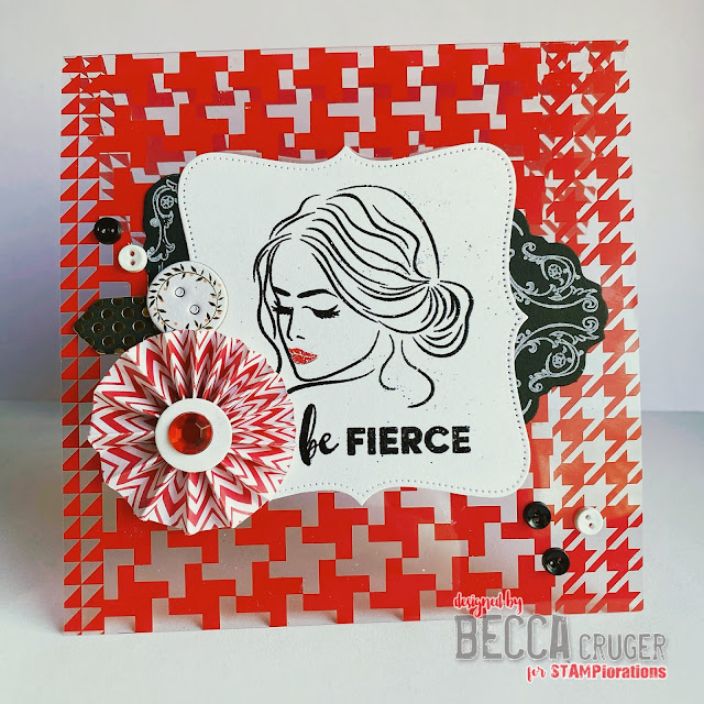 Red and clear houndstooth background with a woman's silhouette in the foreground handmade card featuring Fierce & Brave stamp set by STAMPloraitons