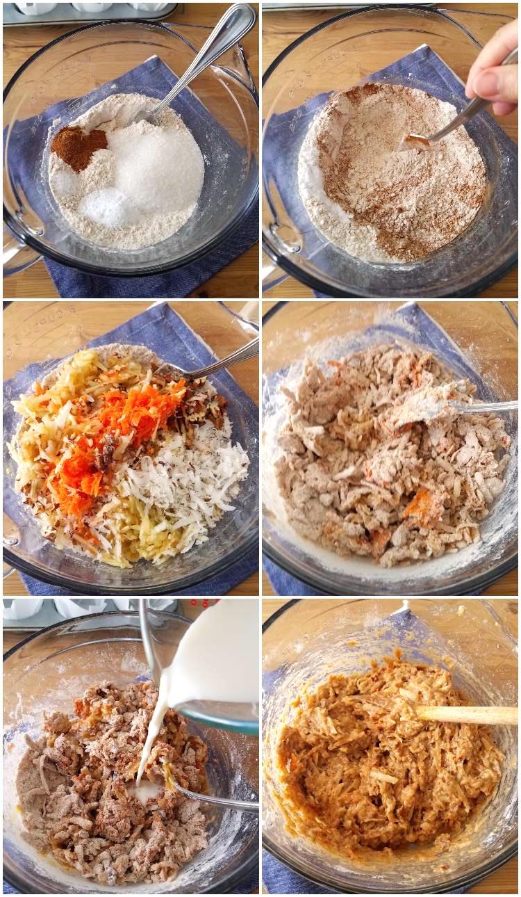 Cómo hacer muffins integrales de zanahoria y manzana, collage de 6 fotos paso a paso