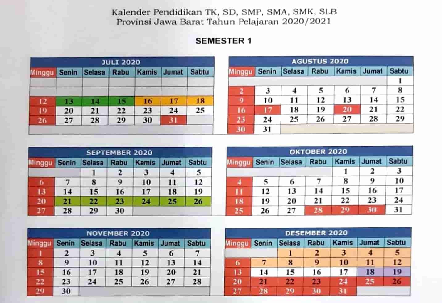 Kalender Pendidikan 2020 Jawa Barat