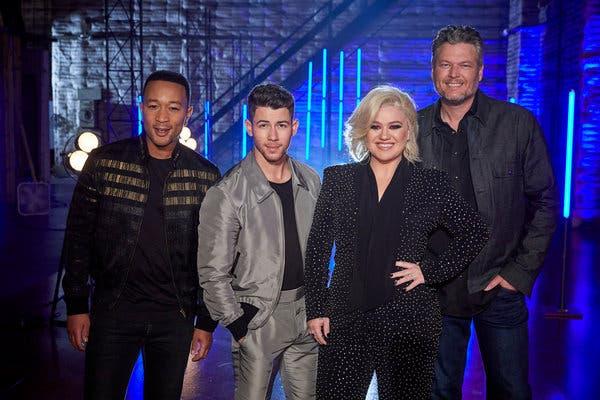 The Voice coaches John Legend, Nick Jonas, Kelly Clarkson and Blake Shelton