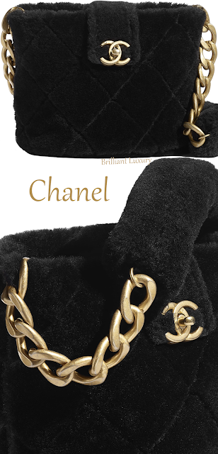 Chanel shearling lambskin black bucket bag #brilliantluxury