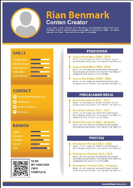 Curriculum Vitae.Docx : Download Kumpulan Contoh Curriculum Vitae Word Gratis