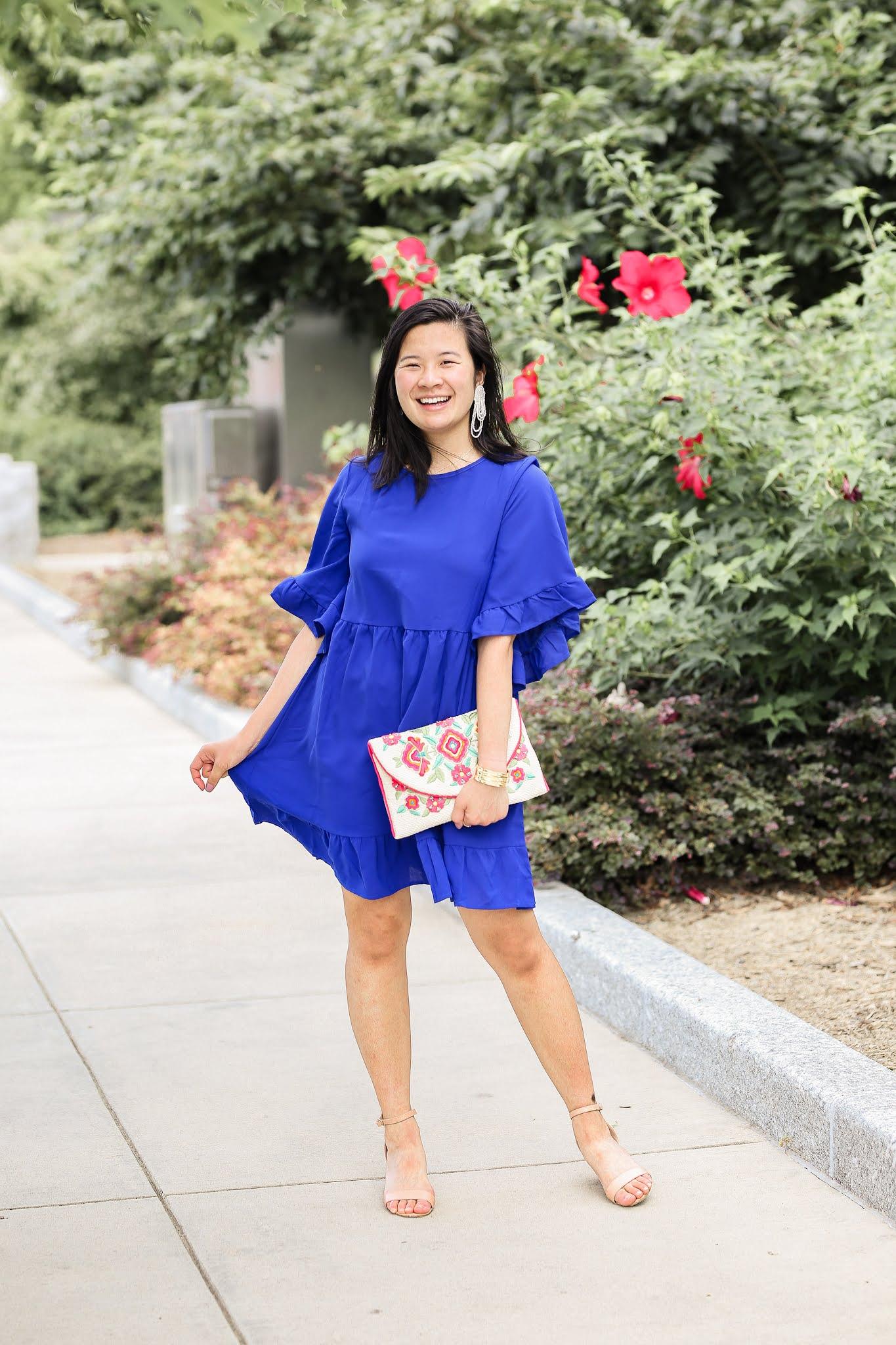 Royal Blue Ruffle Sleeve Amazon Prime Dress