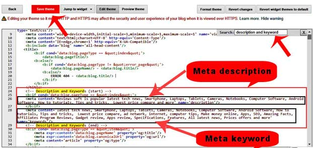 blog me meta tag code kaise add kare