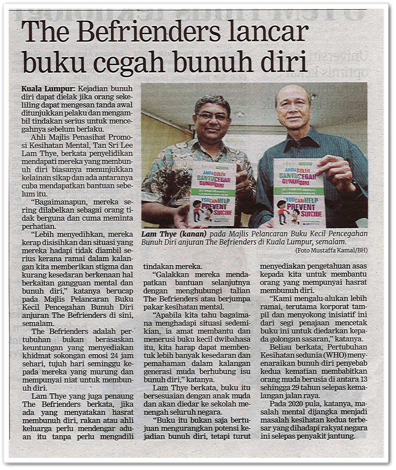 The Befrienders lancar buku cegah bunuh diri - Keratan akhbar Berita Harian 24 November 2019