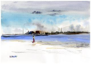 水彩画「曇りのち晴れ」