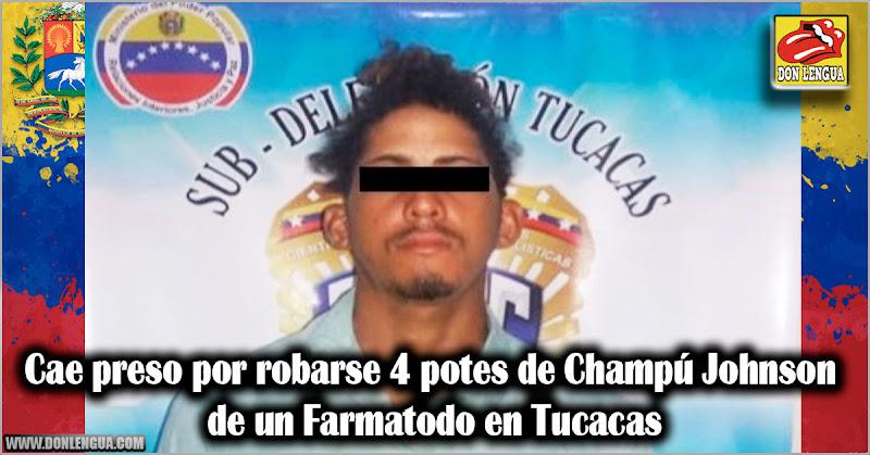 Cae preso por robarse 4 potes de Champú Johnson de un Farmatodo en Tucacas